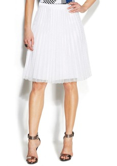 Calvin Klein Pleated Mesh A-Line Skirt