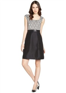Kay Unger black and white printed and embellished sleeveless dress