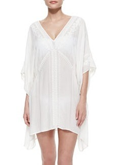 Deja-Blue Embroidered Caftan Coverup, White   Deja-Blue Embroidered Caftan Coverup, White