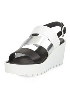 Charles David April Strappy Wedge Sandal, Black/Silver