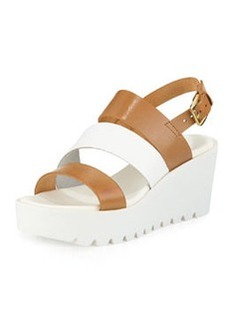 Charles David April Strappy Wedge Sandal, Cognac/White