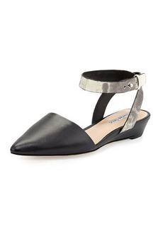 Charles David Bailey Snakeskin Ankle-Wrap Flat, Black
