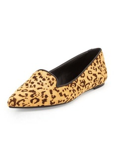 Charles David Bao Leopard-Print Loafer, Natural/Black