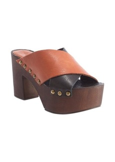 Charles David black and cognac leather platform heel 'Mania' sandals
