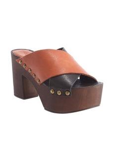 Charles David black and cognac leather platform heel 'Mania' sandals