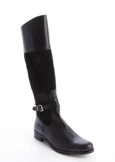 Charles David black leather suede accent 'Rosy' buckle detail boots