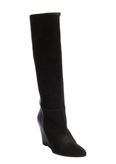Charles David black suede and leather 'Renex' wedge heel boots