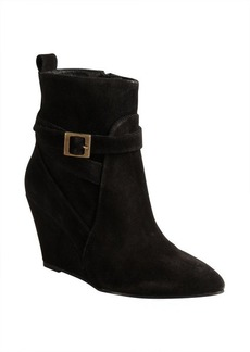 Charles David black suede buckle detail 'Esme' wedge heel booties