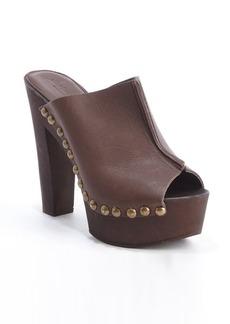 Charles David brown leather seam detail 'Favi heel sandals