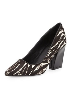 Charles David Calf Hair Chunky-Heel Pump