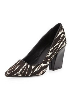 Charles David Calf Hair Chunky-Heel Pump, Black-White