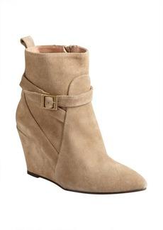 Charles David camel suede buckle detail 'Esme' wedge heel booties