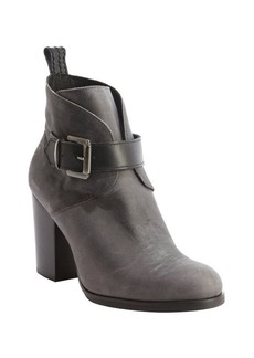 Charles David charcoal leather 'Celo' buckle detail ankle boots