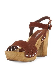 Charles David Coco Suede Wood-Heel Sandal