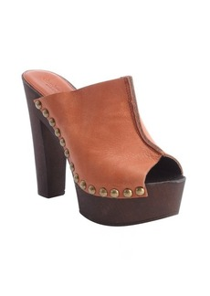 Charles David cognac leather seam detail 'Favi heel sandals