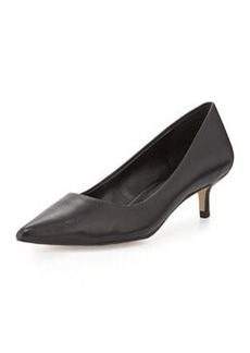 Charles David Damian Leather Low-Heel Pump, Black