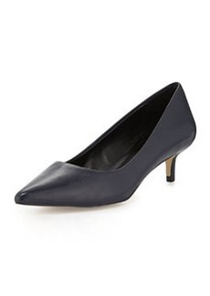Charles David Damian Leather Low-Heel Pump, Navy