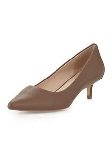 Charles David Damian Leather Low-Heel Pump, Taupe