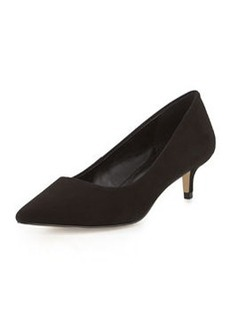 Charles David Damian Suede Low-Heel Pump, Black