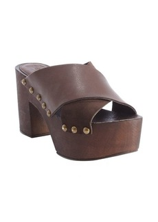 Charles David dark brown leather platform heel 'Mania' sandals