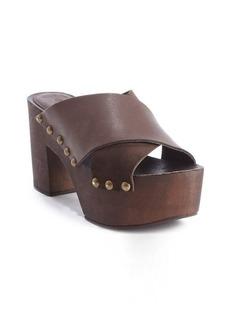 Charles David dark brown leather platform heel 'Mania' sandals