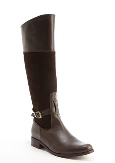 Charles David dark brown leather suede accent 'Rosy' buckle detail boots