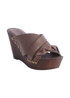 Charles David dark brown leather weave detail 'Menum' wedge sandals