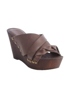 Charles David dark brown leather weave detail 'Menum' wedge sandals