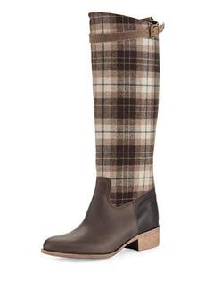 Charles David Gentry Plaid Flat Riding Boot