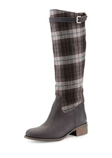 Charles David Gentry Plaid Flat Riding Boot