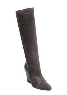 Charles David grey suede and leather 'Renex' wedge heel boots