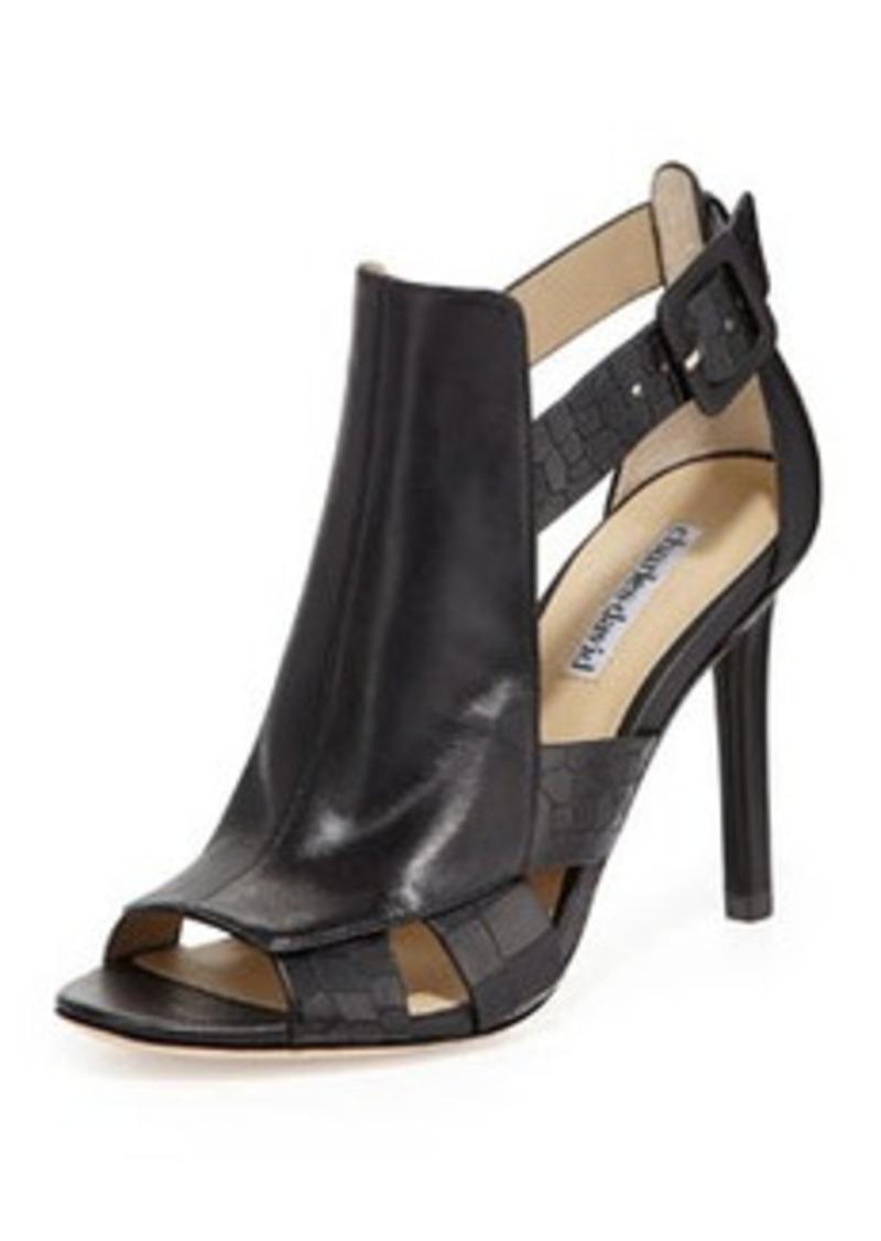 Charles David Immune Croc-Print Glove-Strap Sandal, Black