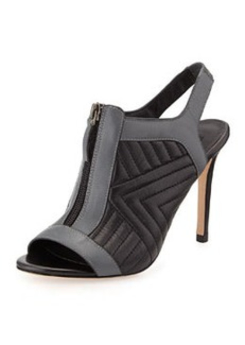 Charles David Inverse Quilted Leather Bootie, Black/Gray