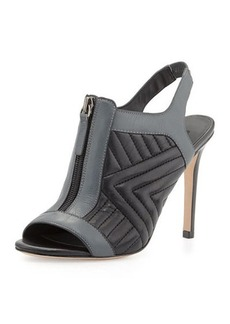 Charles David Inverse Quilted Leather Zip Sandal, Black/Gray