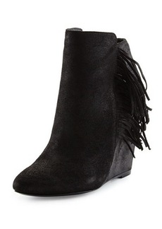 Charles David Irene Fringe Leather Wedge Bootie