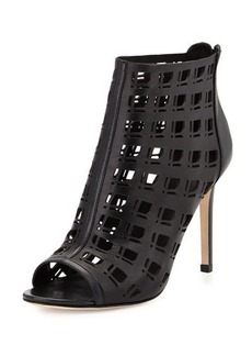 Charles David Iva Open-Toe Leather Bootie W/Cutouts, Black