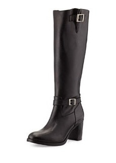 Charles David Jordana Leather Knee Boot, Black