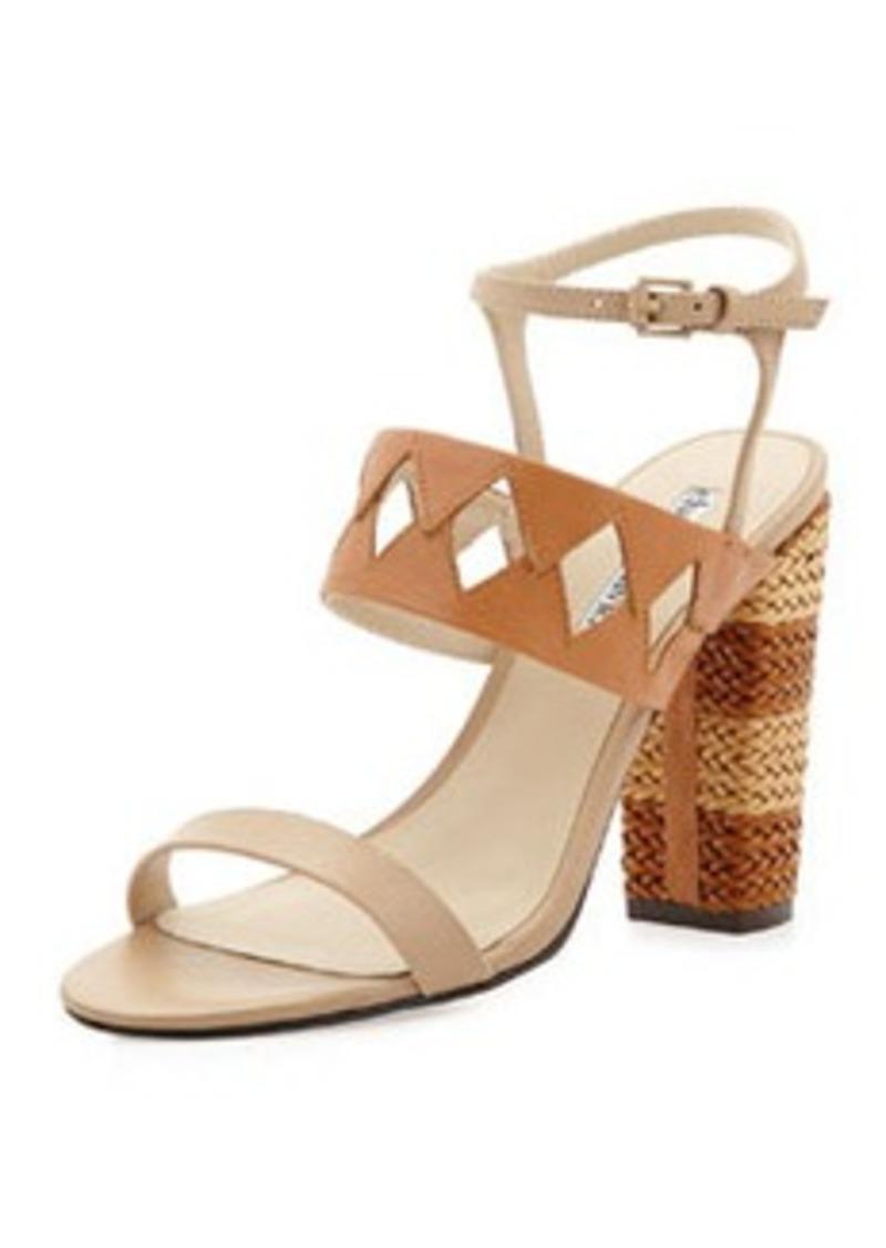 Charles David Jungle Woven Diamond Cutout Sandal, Nude/Cognac