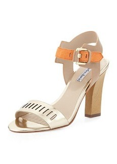 Charles David Justice Metallic Leather Chunky Sandal, Light Gold/Orange