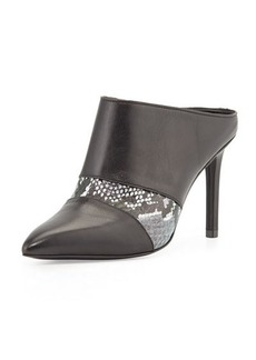 Charles David Kalia Snake Embossed and Leather Mule