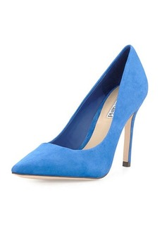 Charles David Katya Suede Point-Toe Pump, Blue
