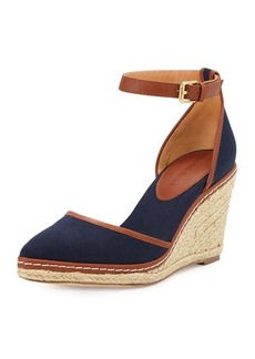 Charles David Keiko Closed-Toe Canvas Espadrille Wedge, Navy