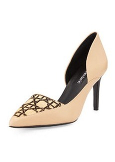 Charles David Leather & Calf Hair Pump, Nude/Black