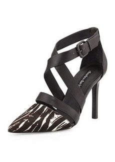 Charles David Leather & Calf Hair Strappy Pump, Black/White
