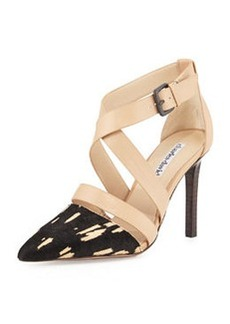 Charles David Leather & Calf Hair Strappy Pump, Nude