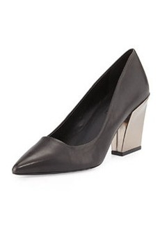 Charles David Leather Chunky-Heel Pump, Black