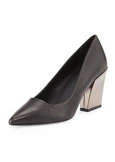 Charles David Leather Chunky-Heel Pump, Black