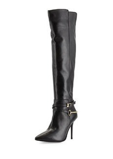 Charles David Leather Pointy-Toe Harness Boot, Black