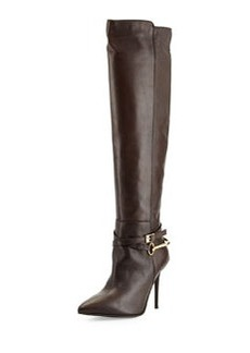 Charles David Leather Pointy-Toe Harness Boot, Dark Brown