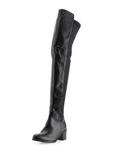 Charles David Leather Pull-On Knee-High Boot, Black